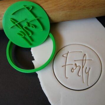 Forty 40th Birthday Cookie Fondant Stamp & Cutter