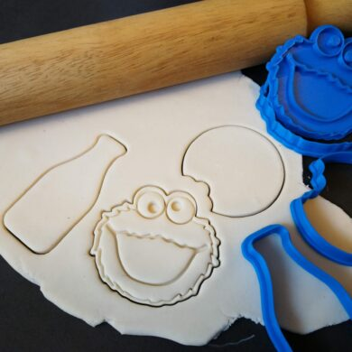 Cookie Monster / Milk Bottle / Cookie with Bite / Cookie Fondant Stamp Embosser and Cutters