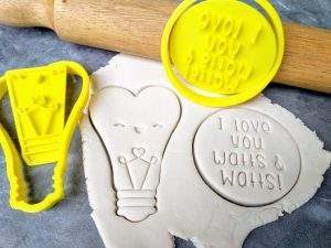 I love you Watts & Watts / Cute Heart Lightbulb Cookie Fondant Embosser Stamp & Cutter
