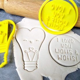 I love you Watts & Watts / Cute Heart Lightbulb Cookie Fondant Embosser Stamp & Cutter
