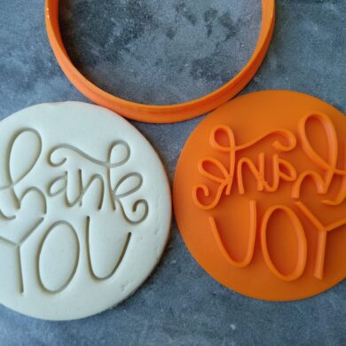 Thank You (Style 4) Cookie Fondant Embosser Stamps and Cutter