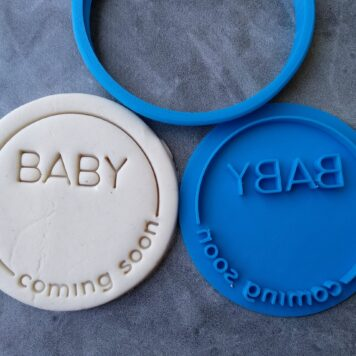 "Baby ""Coming Soon"" DIY Cookie Fondant Embosser Stamp & Cutter"