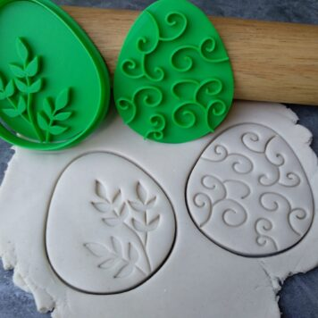 Easter Egg Shape Cookie Cutter and 2 Cookie Embosser Patterns