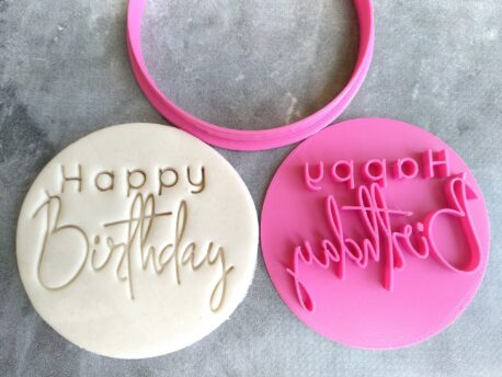 Happy Birthday (Style 4) Cookie Fondant Embosser Stamp & Cutter