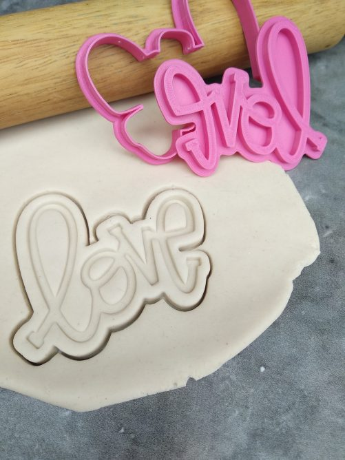 Love Text Cookie Cutter and Fondant Embosser Stamp