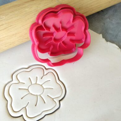 Poppy Flower Cookie Cutter Fondant Stamp Embosser and Cutter