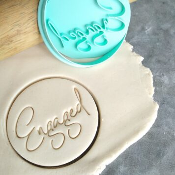 Engaged (Style 2) Cookie Fondant Embosser Stamp and Cutter