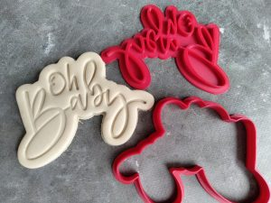 Oh Baby Text Cookie Cutter and Fondant Text Embosser Stamp