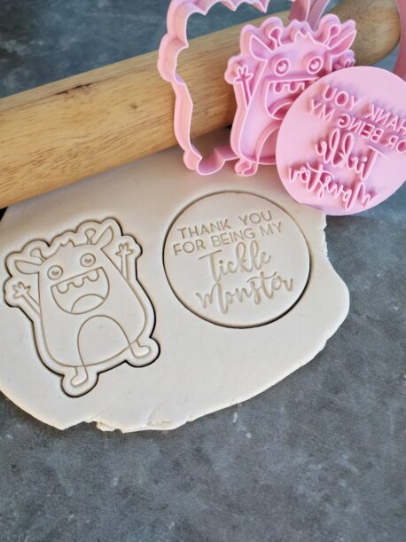 Thank you for being my Tickle Monster Cookie Fondant Embosser Stamp and Cutter Set – Fathers Day