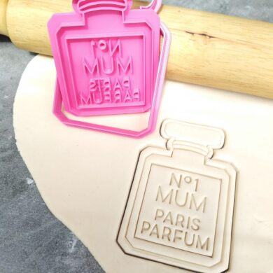 No 1 Mum Perfume Bottle Cookie Cutter and Fondant Stamp Embosser - Mothers Day