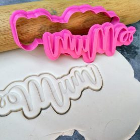 Mum Plaque Cookie Cutter and Fondant Stamp Embosser - Mothers Day - Mum Text - Mum Word