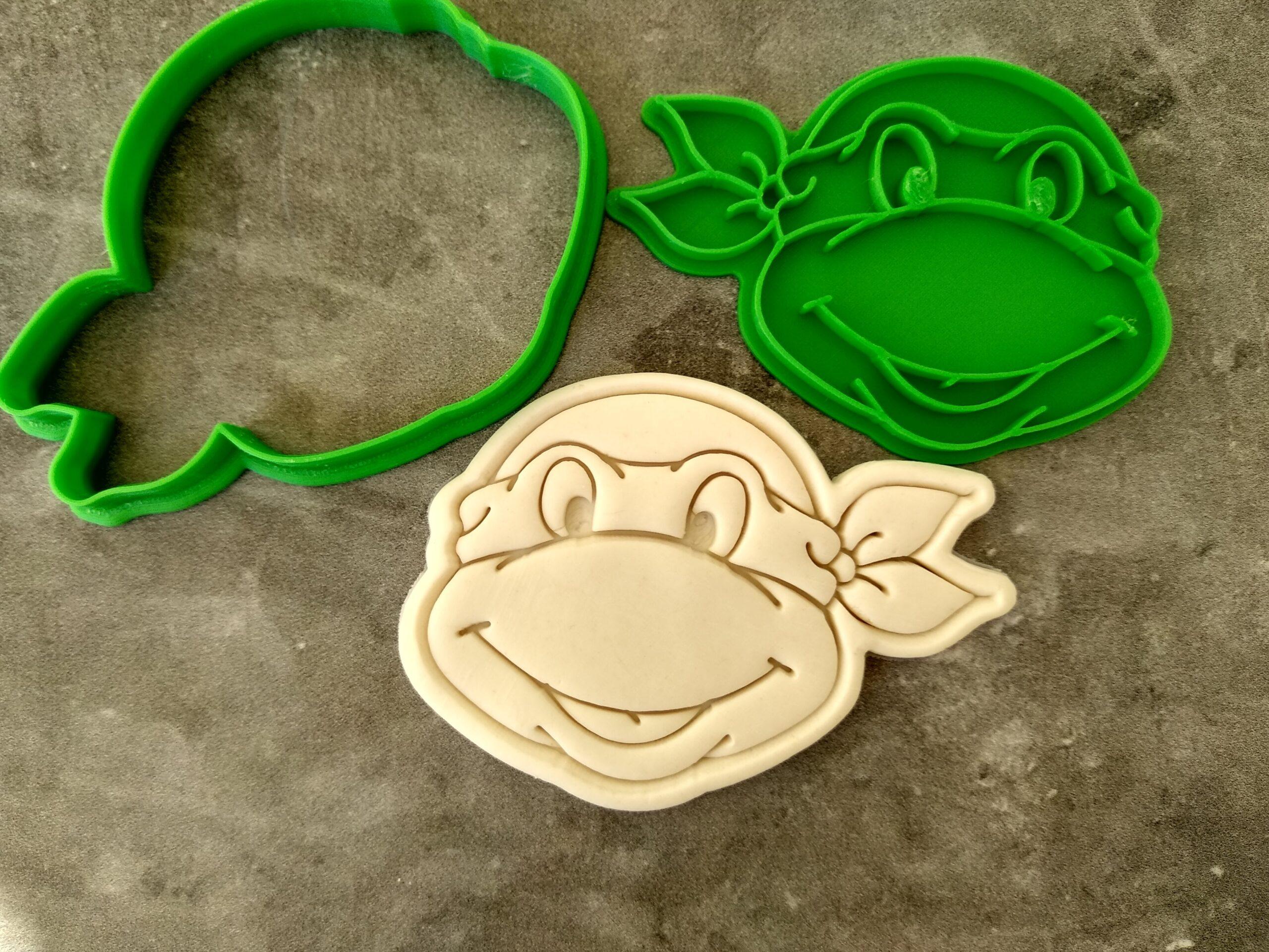 Teenage Mutant Ninja Turtles face Cookie Cutter and Fondant Stamp Embosser