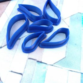 Set of 6 Gum Leaf (Mirrored) Polymer Clay Cutter