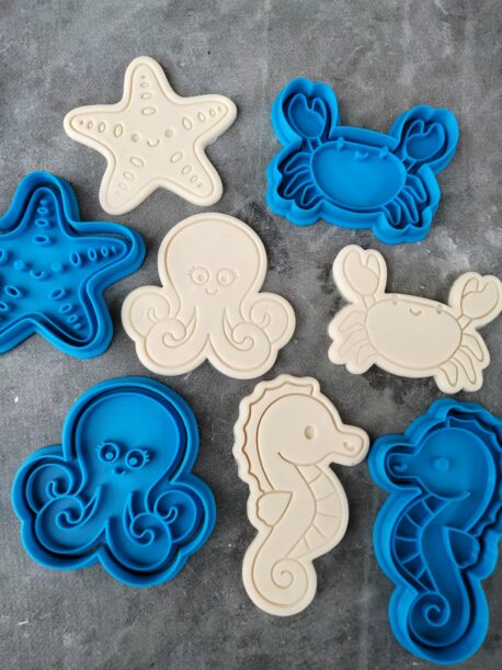 Octopus, Starfish, Seahorse & Crab Cookie Cutter and Fondant Stamp Embosser Set Ocean Creatures Under the Sea