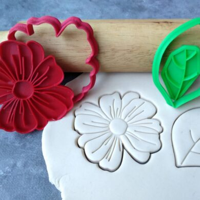 Organic Flower and Leaf Cookie Cutter and Fondant Embosser Stamp Set