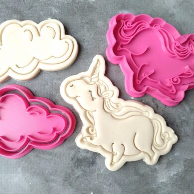 Chubby Unicorn and Clouds Cookie Cutter and Fondant Stamp Embosser