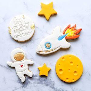 space kids rocket astronaut moon cookie biscuit