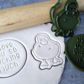 "Duck Cookie Cutter & Fondant Embosser Stamp ""I love you so Ducking Much"" Valentines Day"