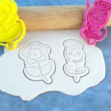 Kawaii Rose and Daisy Flower Cookie Cutter and Fondant Embosser Stamp Set