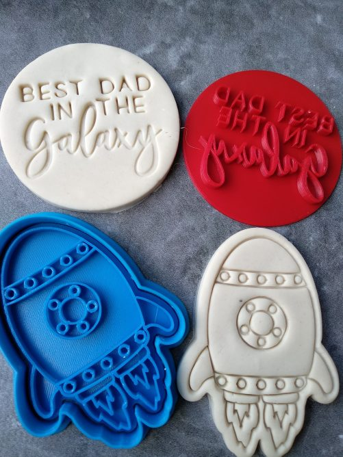 Best Dad in the Galaxy Rocketship Cookie Fondant Stamp Embosser and Cutter – Fathers Day