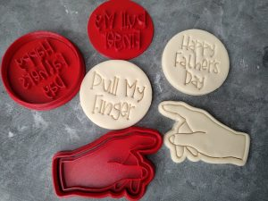 Pull my Finger - Happy Fathers Day with Hand Cookie Cutter and Fondant Stamp Embosser Set - Fathers Day
