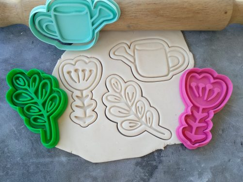 Gardening Cookie Cutter and Embosser Stamp Set, Watering Can, Flower, Leaf