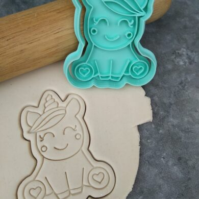 Kawaii Unicorn Cookie Cutter and Fondant Embosser Stamp
