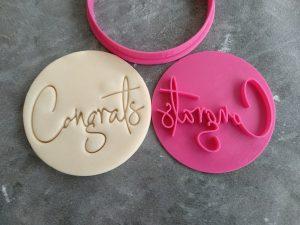 Congrats Style 2 - Congratulations – Cookie Fondant Embosser Stamp & Cutter