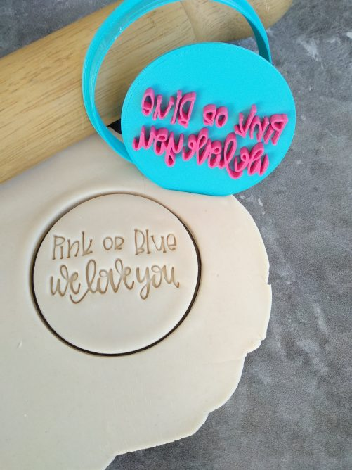 Pink or Blue Cookie Fondant Stamp Embosser Imprint and Cutter Baby Shower