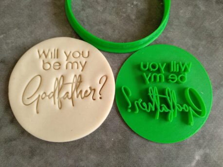 Will you be my Godfather? Cookie Fondant Stamp Embosser and Cutter