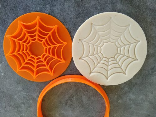 Spider Web Cookie Fondant Embosser Imprint Stamp and Cutter Halloween Spiderman