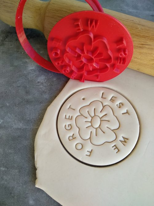 Lest We Forget with Poppy Flower Cookie Fondant Embosser Stamp and Cutter