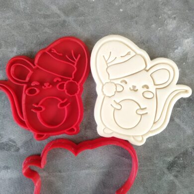 Christmas Mouse Cookie Cutter and Fondant Embosser Impress Stamp
