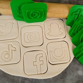 Social Media Icons Pack Fondant Embosser Stamp and Cutter, Twitter, Youtube, Snapchat, Tiktok, Facebook and Instagram
