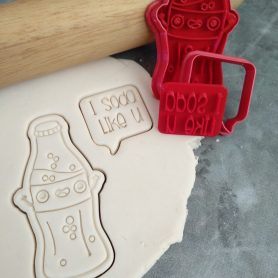 "Soda Bottle Cookie Cutter and Speechbubble ""I Soda Like U"" Cookie Cutter & Fondant Embosser Stamp"