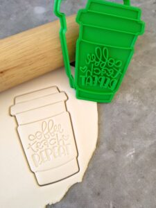 Coffee Teach Repeat Coffee Cup Cookie Fondant Embosser and Cookie Cutter Teachers Gift