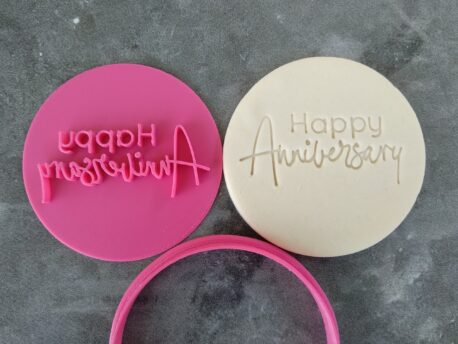 Happy Anniversary Cookie Fondant Stamp Embosser and Cutter