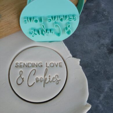 Sending Love and Cookies Cookie Fondant Embosser Imprint Stamp and Cutter