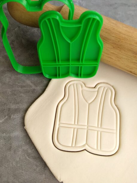 Construction Vest Cookie Fondant Embosser Imprint Stamp and Cookie Cutter