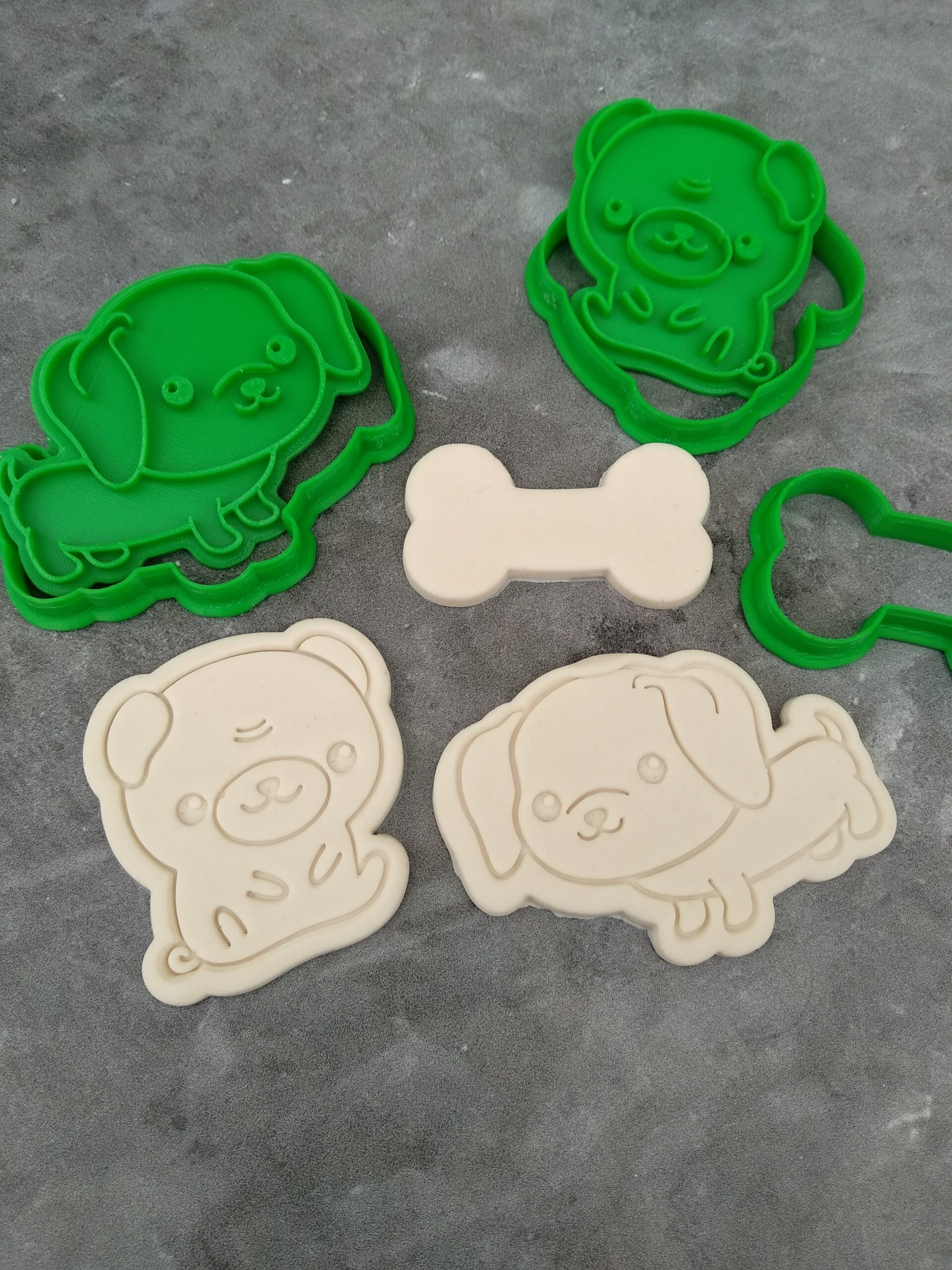 Dogs Cute Kawaii Dogs and Dog Bone Cookie Fondant Embosser Imprint Stamp and Cookie Cutter