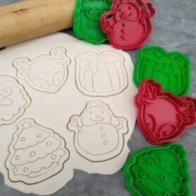 Christmas Set, Santa, Rudolph, Snowman, Xmas Tree, Present Cookie Fondant Embosser Imprint Stamp and Cookie Cutter