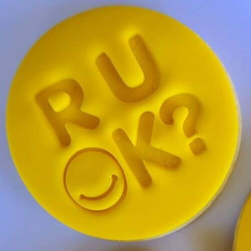 R U OK? Cookie Fondant Embosser Imprint Stamp and Cutter