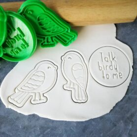 'Talk birdy to me' Cookie Fondant Stamp Embosser and Cutter Set Cute Birds Cookie Cutter