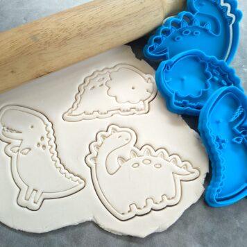 Dinosaur Fondant Embosser Imprint Stamp & Cookie Cutter Set 3 Piece Tyrannosaurus Rex Brontosaurus Triceratops