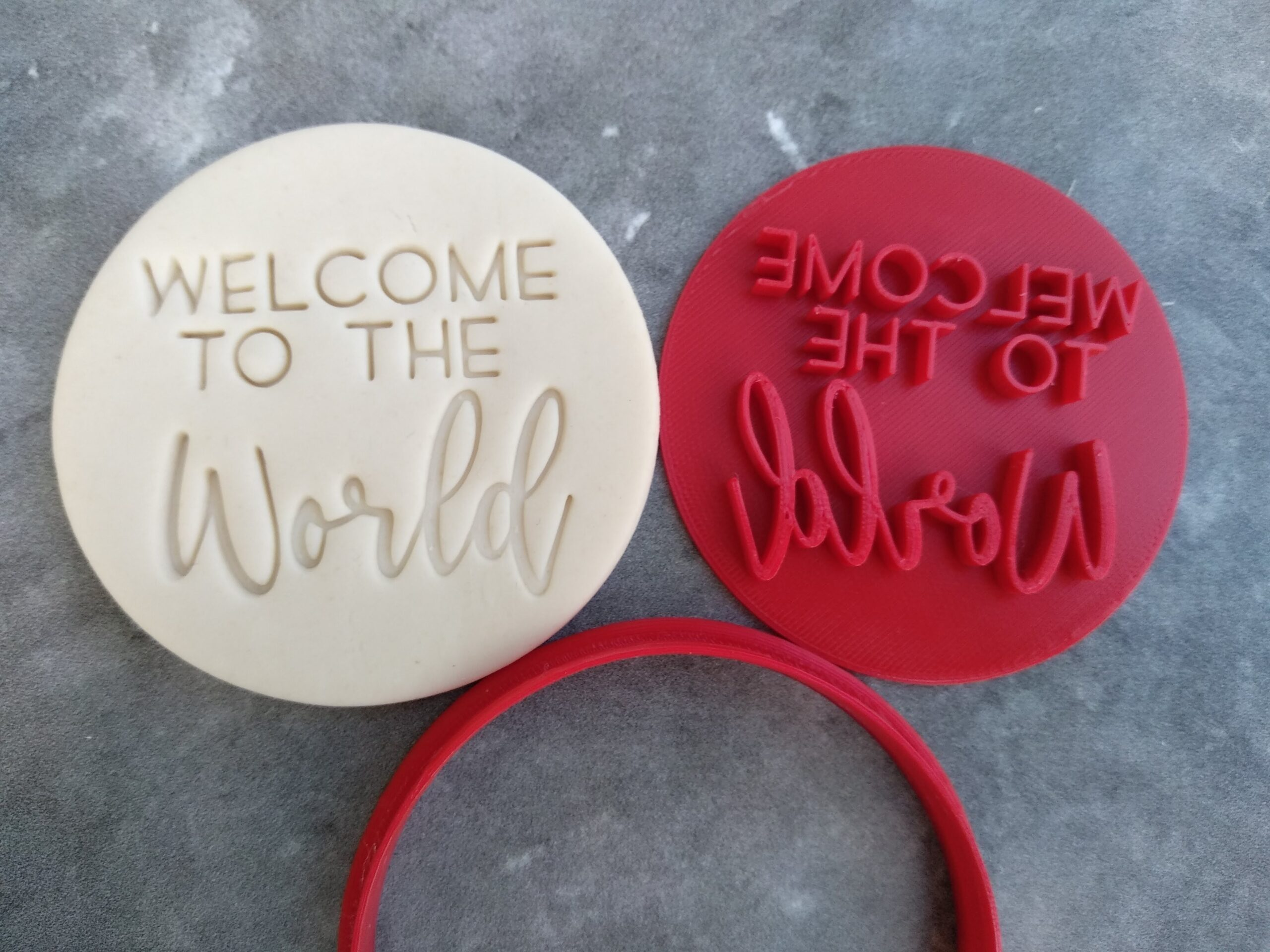 Welcome to the World Fondant Embosser Imprint Stamp and Cookie Cutter - New Baby Welcome Baby