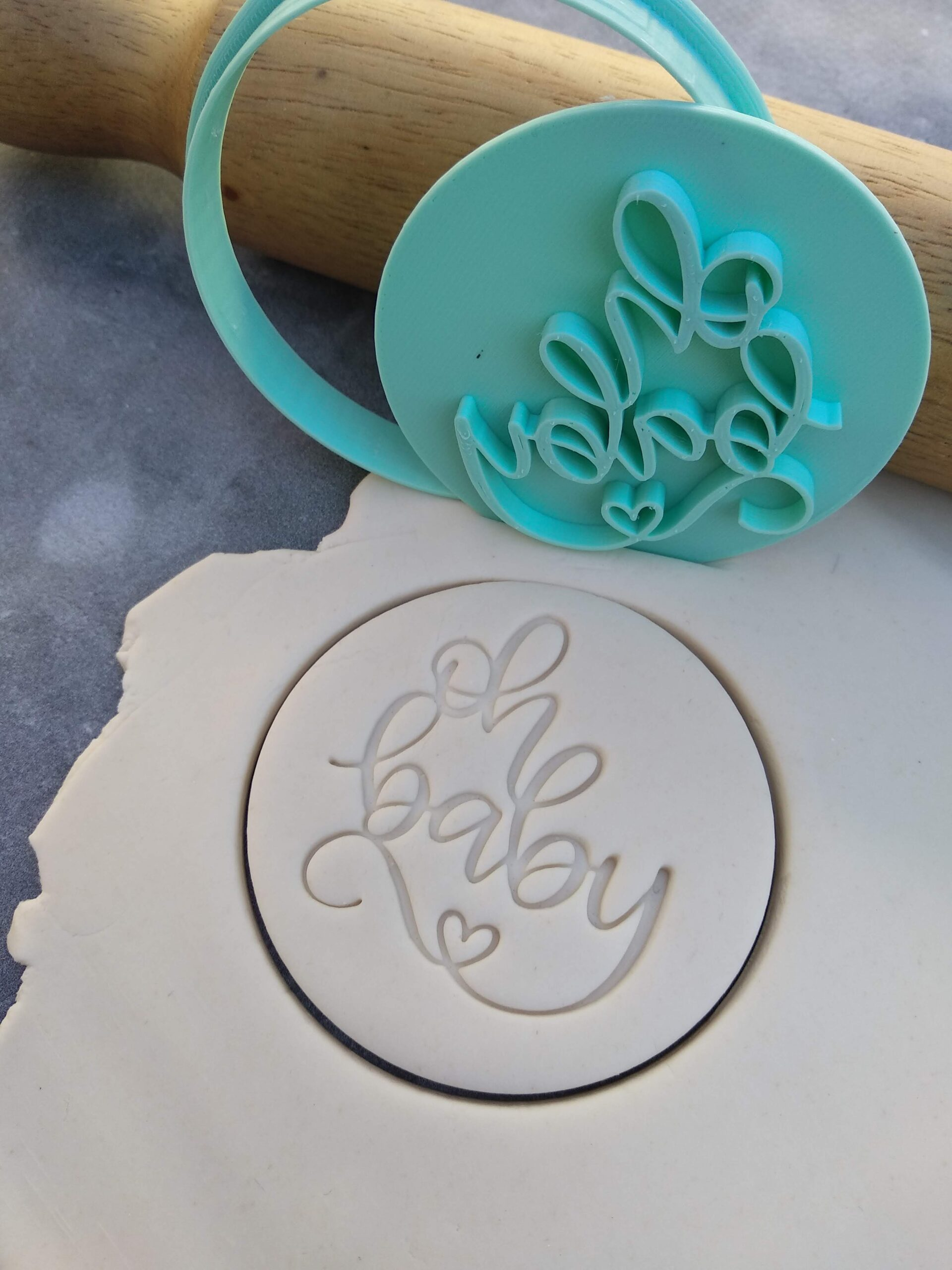 Oh Baby (Style 3) Cookie Fondant Stamp Embosser and Cutter – Baby Shower