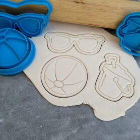 Beach Theme Cookie Cutter and Fondant Embosser Imprint Stamp Set Beach Ball, Sunnies Sunglasses, Bucket and Spade
