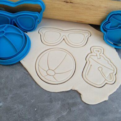 Beach Theme Cookie Cutter and Fondant Embosser Imprint Stamp Set Beach Ball, Sunnies Sunglasses, Bucket and Spade