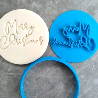 Merry Christmas (style 4) Cookie Fondant Embosser Stamp & Cutter