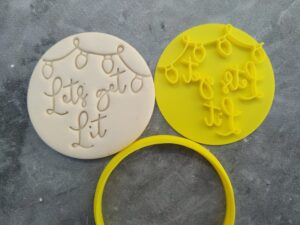 'Lets Get Lit' Cookie Fondant Embosser Stamp & Cutter Christmas Lights Xmas